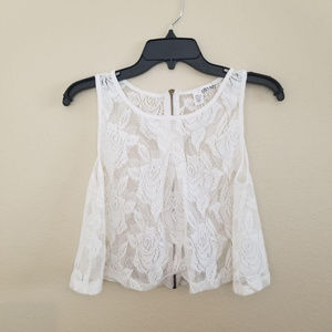 White/ Ivory Lace Rose Crop Top